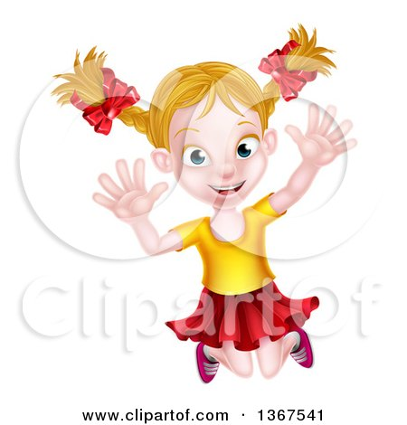 Clipart of a Happy Blond White Girl Jumping Happily - Royalty Free Vector Illustration by AtStockIllustration