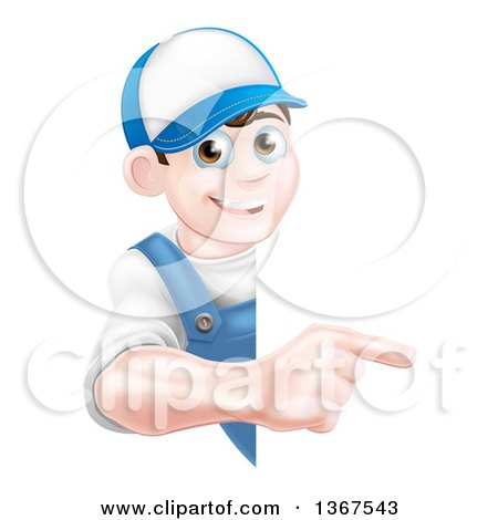 Happy Young Brunette Caucasian Mechanic Man in Blue, Wearing a Baseball Cap, Pointing Around a Sign Posters, Art Prints