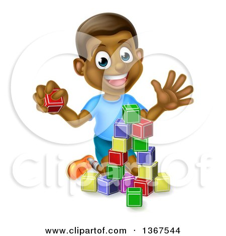 Clipart of a Happy Black Boy Waving and Playing with Toy Blocks - Royalty Free Vector Illustration by AtStockIllustration