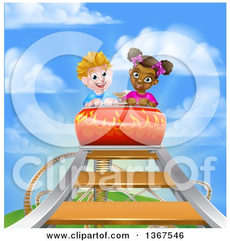 Clipart of a Happy White Boy and Black Girl at the Top of a Roller Coaster Ride, Against a Blue Sky with Clouds - Royalty Free Vector Illustration by AtStockIllustration