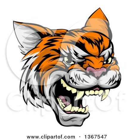 Clipart of a Vicious Tiger Mascot Face - Royalty Free Vector Illustration by AtStockIllustration