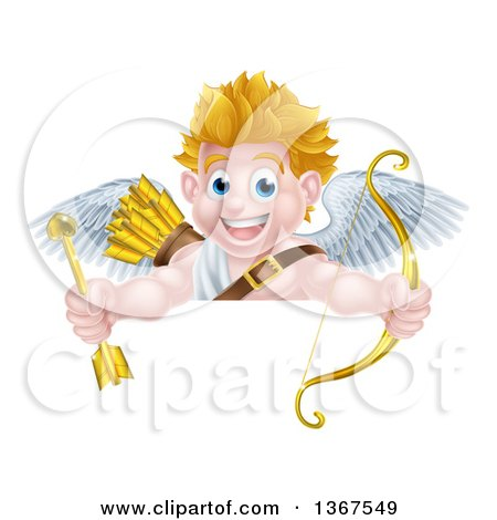 Clipart of a Happy Blond Caucasian Valentines Day Cupid Holding a Gold Heart Arrow and His Bow over a Sign - Royalty Free Vector Illustration by AtStockIllustration