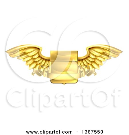 Clipart of a 3d Gold Heraldic Winged Shield with a Blank Banner Ribbon - Royalty Free Vector Illustration by AtStockIllustration
