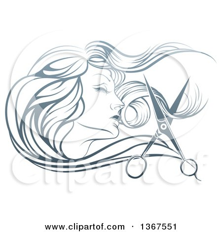 Clipart of a Beatiful Woman's Face in Profile, with Long Hair and Scissors Snipping off a Lock - Royalty Free Vector Illustration by AtStockIllustration