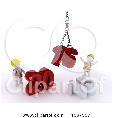 Clipart of 3d White Character Contractors Using a Hoist to Piece Together a New Year 2016, with 15 on the Ground, over White - Royalty Free Illustration by KJ Pargeter