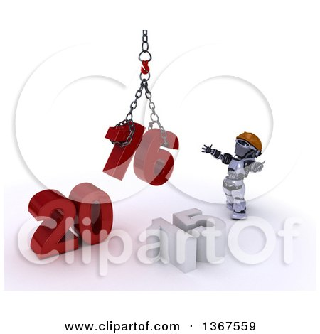 Clipart of a 3d Silver Robot Contractor Using a Hoist to Piece Together a New Year 2016, with 15 on the Ground, over White - Royalty Free Illustration by KJ Pargeter