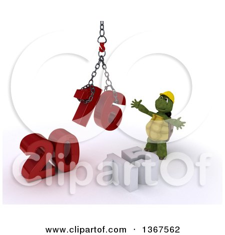 Clipart of a 3d Tortoise Contractor Using a Hoist to Piece Together a New Year 2016, with 15 on the Ground, over White - Royalty Free Illustration by KJ Pargeter
