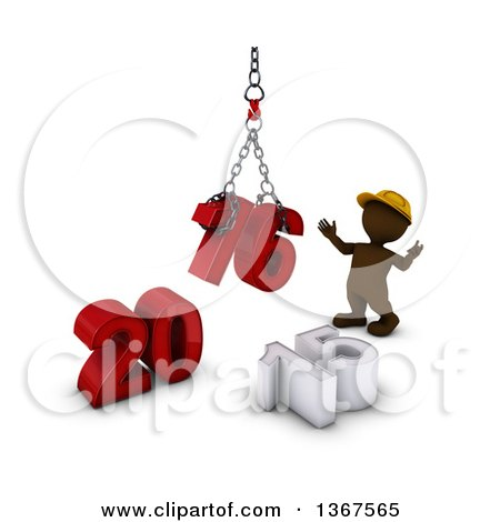 Clipart of a 3d Brown Man Contractor Using a Hoist to Piece Together a New Year 2016, with 15 on the Ground, over White - Royalty Free Illustration by KJ Pargeter