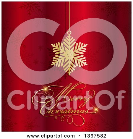 Clipart of a Suspended Gold Snowflake and a Merry Christmas Greeting over Red with Snowflakes - Royalty Free Vector Illustration by KJ Pargeter
