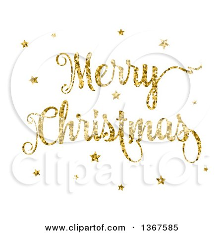 Clipart of a Gold Glitter Merry Christmas Greeting and Stars on White - Royalty Free Vector Illustration by KJ Pargeter