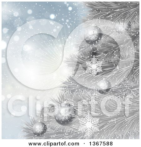 Clipart of a Christmas Background of 3d Baubles on a Silver Tree over Snowflakes and a Burst - Royalty Free Vector Illustration by KJ Pargeter