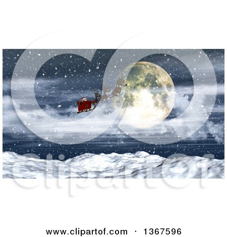 Clipart of a 3d Santa Flying His Magic Sleigh over a Full Moon and Snowy Mountain Range - Royalty Free Illustration by KJ Pargeter
