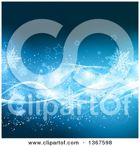 Clipart of a Blue Christmas Background with Snowflakes, Stars and Waves - Royalty Free Vector Illustration by KJ Pargeter