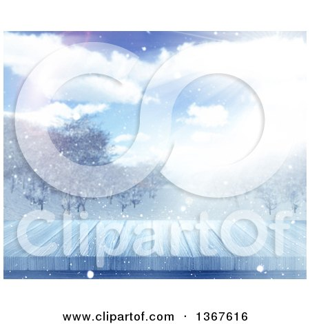 Clipart of a 3d Wooden Deck or Table with a Blurred View of a Winter Landscape - Royalty Free Illustration by KJ Pargeter