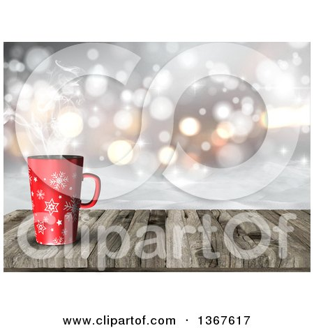 Clipart of a 3d Red Snowflake Coffee Cup on an Aged Wood Table with a View of Snow and Bokeh Flares - Royalty Free Illustration by KJ Pargeter