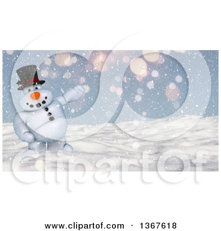 Clipart of a 3d Snowman Presenting in the Snow - Royalty Free Illustration by KJ Pargeter