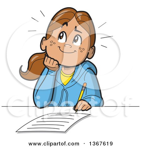 Clipart of a Cartoon Happy School Girl Resting Her Chin on Her Hand, Thinking and Writing an Essay - Royalty Free Vector Illustration by Clip Art Mascots