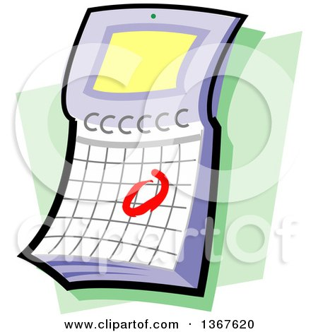 Clipart of a Flip Desk Calendar with a Circled Date, over Green - Royalty Free Vector Illustration by Clip Art Mascots