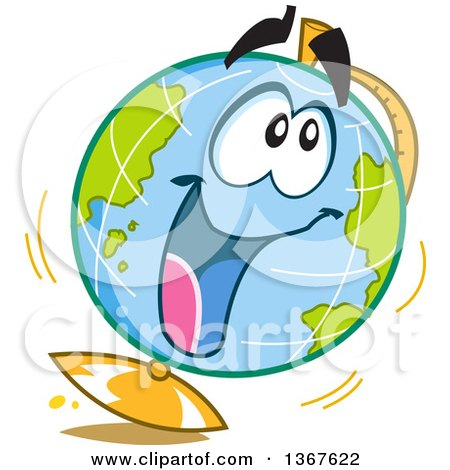 Clipart of a Cartoon Excited Desk Globe Character - Royalty Free Vector Illustration by Clip Art Mascots