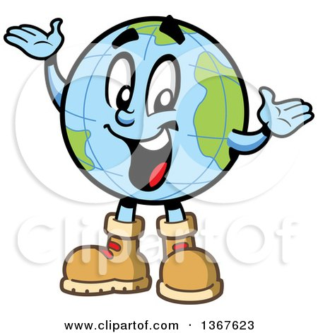 Clipart of a Cartoon Happy Desk Globe Mascot Wearing Hiking Boots and Presenting - Royalty Free Vector Illustration by Clip Art Mascots