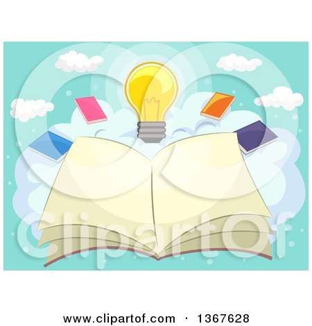 Clipart of a Sketched Open Book on a Cloud with Other Books and a Light Bulb - Royalty Free Vector Illustration by BNP Design Studio