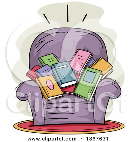 Clipart of a Sketched Purple Arm Chair Filled with Books - Royalty Free Vector Illustration by BNP Design Studio