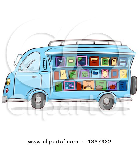 Clipart of a Sketched Blue Mobile Library Van Selling Books - Royalty Free Vector Illustration by BNP Design Studio
