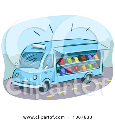 Clipart of a Sketched Blue Mobile Library Van with Books - Royalty Free Vector Illustration by BNP Design Studio