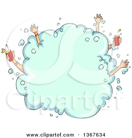 Clipart of a Sketched Foarm Party Bubble with Hands Sticking Out, Some Holding Beer - Royalty Free Vector Illustration by BNP Design Studio