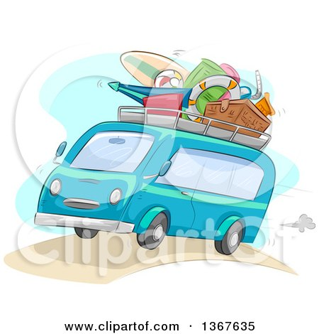Clipart of a Sketched Blue Microbus Packed with Summer Beach Vacation Items on the Roof - Royalty Free Vector Illustration by BNP Design Studio