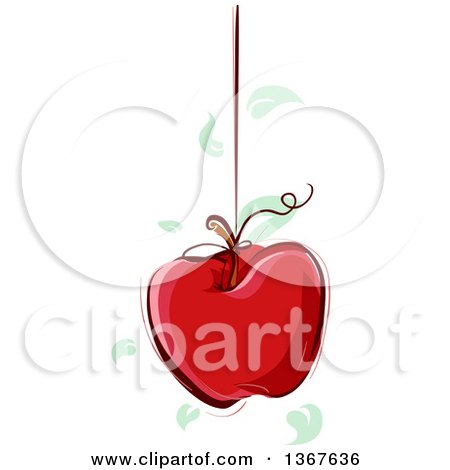 Clipart of a Sketched Red Apple with Leaves Suspended from a String - Royalty Free Vector Illustration by BNP Design Studio
