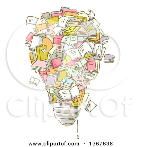 Clipart of Sketched Books Forming a Light Bulb - Royalty Free Vector Illustration by BNP Design Studio