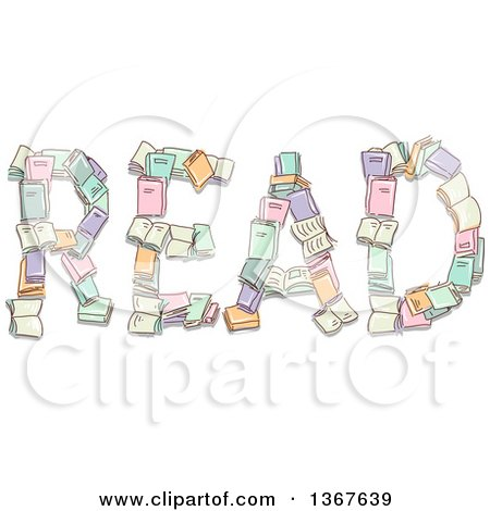 Clipart of Sketched Books Forming the Word READ - Royalty Free Vector Illustration by BNP Design Studio