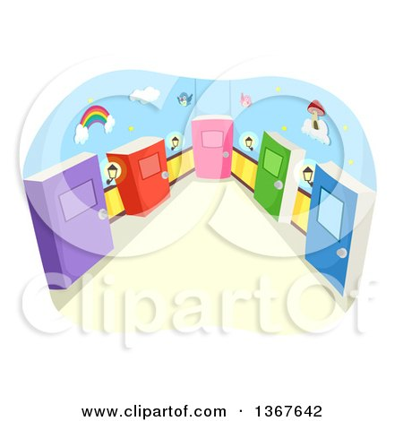 Clipart of a Hallway with Colorful Book Doors - Royalty Free Vector Illustration by BNP Design Studio