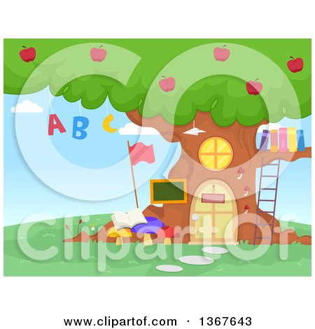 Clipart of a Tree School House with Apples, Alphabet Letters and Books - Royalty Free Vector Illustration by BNP Design Studio