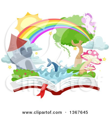 Clipart of a Castle Tower, Rainbow, Dolphin, Pegasus and Fantasy Land on an Open Book - Royalty Free Vector Illustration by BNP Design Studio