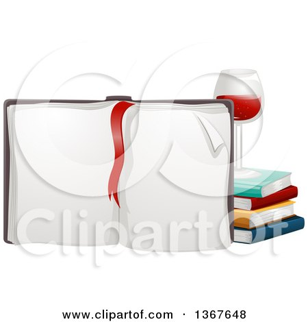 Clipart of a Red Ribbon Bookmark on an Open, Upright Book with a Glass of Red Wine and Stack of Books - Royalty Free Vector Illustration by BNP Design Studio