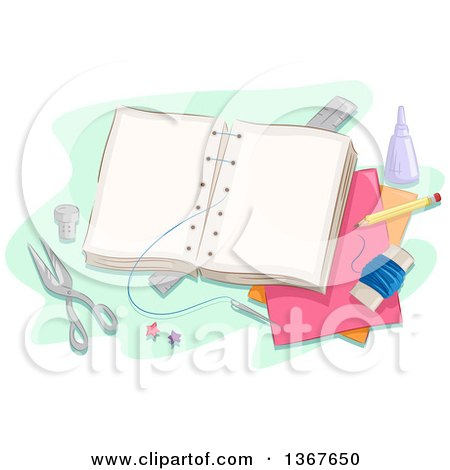 Clipart of a Book Being Sewn Together, with Craft Supplies - Royalty Free Vector Illustration by BNP Design Studio