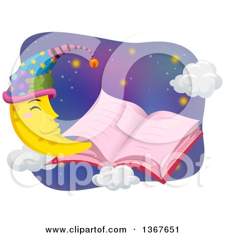 Clipart of a Pink Open Story Book with a Happy Crescent Moon Wearing a Night Cap - Royalty Free Vector Illustration by BNP Design Studio