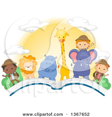 Clipart of Explorer Children and African Animals with a Sunset on an Open Book - Royalty Free Vector Illustration by BNP Design Studio