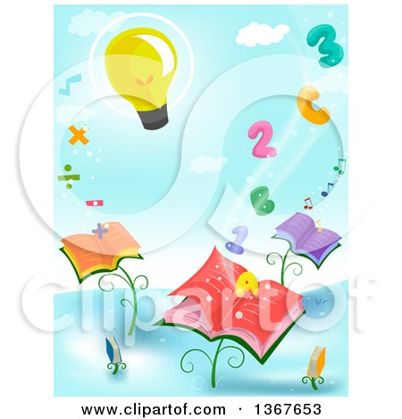 Clipart of a Light Bulb Floating over Letters, Numbers, Math Symbols and Book Plants - Royalty Free Vector Illustration by BNP Design Studio