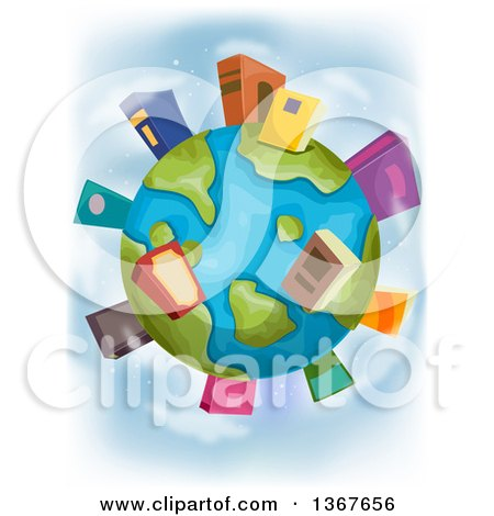 Clipart of a Globe with Book Buildings on the Continents - Royalty Free Vector Illustration by BNP Design Studio