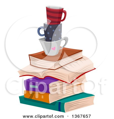 Clipart of a Stack of Books and Coffee Cups - Royalty Free Vector Illustration by BNP Design Studio