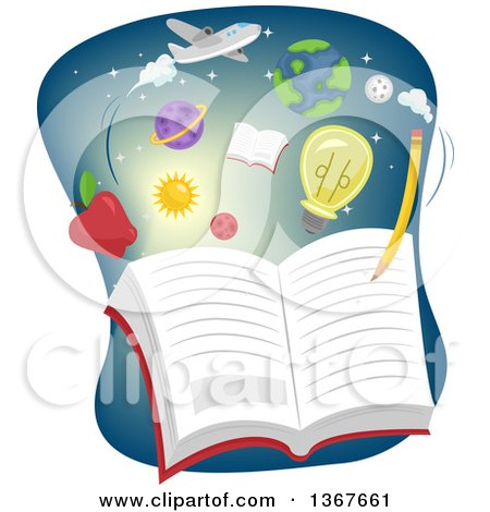 Clipart of a Pencil Writing in a Book with Subject Icons - Royalty Free Vector Illustration by BNP Design Studio