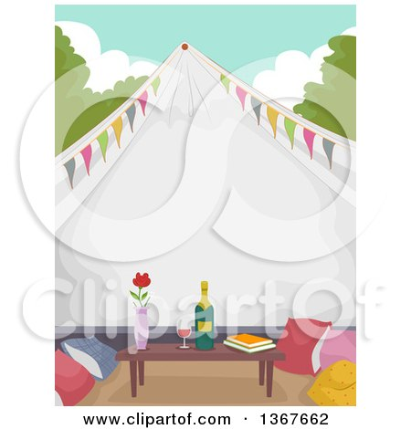 Clipart of a Formal Glamping Tent with a Table, Books, Pillows and Wine - Royalty Free Vector Illustration by BNP Design Studio