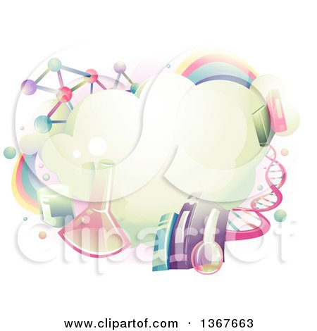 Clipart of a Cloud Surrounded with Science School Subject Icons - Royalty Free Vector Illustration by BNP Design Studio