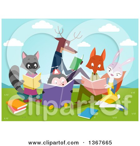 Clipart of a Group of Smart Animals Reading Books in a Valley - Royalty Free Vector Illustration by BNP Design Studio