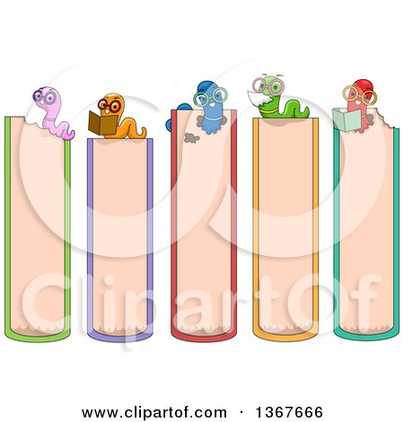 Clipart of Book Side Markers with Worms - Royalty Free Vector Illustration by BNP Design Studio
