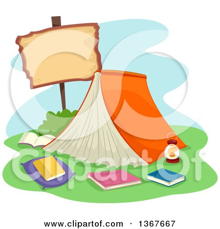 Clipart of a Book Tent with a Blank Sign - Royalty Free Vector Illustration by BNP Design Studio