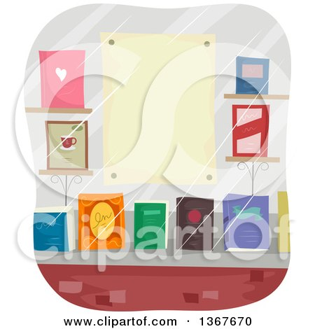 Clipart of a Book Store Window Display with a Blank Poster - Royalty Free Vector Illustration by BNP Design Studio